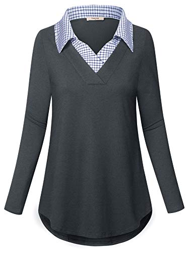 Tunic Blouses Women,Timeson Womens Contrast Collar Tops Long Sleeve Plaid Business Shirts for Women for Work Loose Fit Casual Dressy Sheer Shirt Dark Gray XX-Large