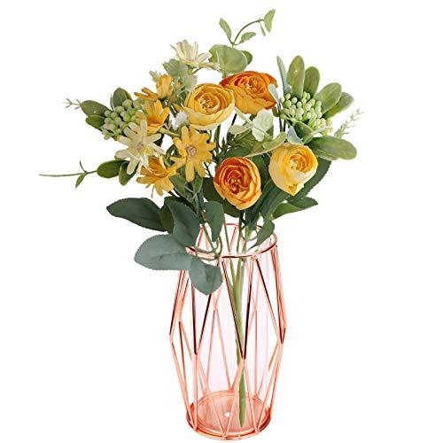 Florero de vidrio con soporte de metal geométrico transparente transparente de cristal Rosa Soporte de metal de oro rosa Florero ramo de flores para sala de estar Hogar Decoración de fiesta Small