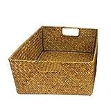 Cesta rectangular de mimbre con asa, cesta de almacenamiento hecha a mano de...