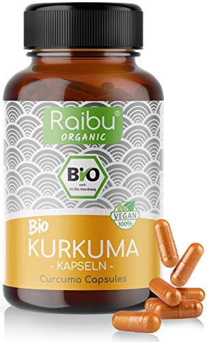 Raibu® BIO Kurkuma Kapseln hochdosiert 180 Curcuma Kapseln mit 3000mg pro Tagesdosis I Hoher Curcumin Gehalt I In Deutschland hergestellt I Vegan Turmeric Capsules