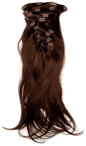 Love Hair Extensions - LHE/A1/QFC/120G/10PCS/18/2 - 100 % Cheveux Naturels Lisses et Soyeux - 10 Pièces Clippants en Extensions - Couleur 2 - Brun Foncé - 46 cm