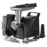 Meat Grinder with 3 Grinding Plate, 1300W Sausage Stuffer & Kibbe Kit for Home Use, Vegetable Slicer with 3 Shredding Blade, Nutronic Meat Mincer with Cookie Maker