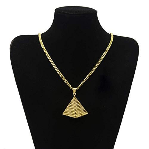Gepersonaliseerde accessoires, Kettingen, Sieraden Titanium Staal Gouden Driehoek Piramide Hanger 5Mm Goud Cubaanse Ketting, Thumby Gold +5mm