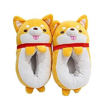 ANMOGUN Shiba Inu Dog Plush Novelty Slippers Mens Womens Animals Cotton flip Flops Winter Indoor Casual Warmth Non-Slip Floor Shoes-Orange_35-42  280mm