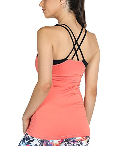 icyzone Damen 2 in 1 Sport Yoga Tops mit BH - Gym Shirts Fitness Trainings Tank Top (L, Coral)