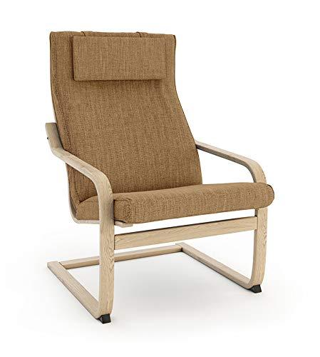 Vinylla Funda de repuesto para sillón compatible con IKEA Poäng (Cojín diseño 2, poliéster, color caqui)