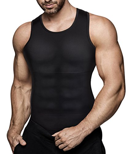 Mens Compression Shirt Slimming Body Shaper Vest Workout Tank Tops Abs Abdomen Undershirts(Black, L)