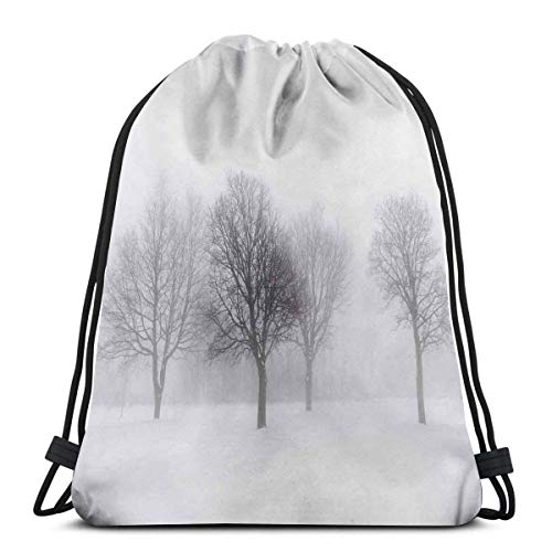 shyly Printed Drawstring Backpacks, Surreal Winter Scenery with High Mountain Peaks and Snowy Pine Trees, Adjustable String Closure