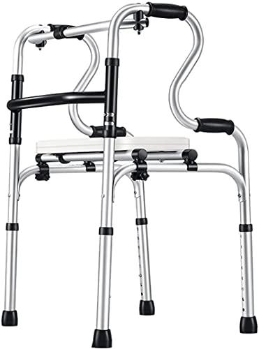 Ancianos plegables con asiento de cuero, ayuda para caminar con aluminio ligero para interiores / al aire libre, asiento de ducha multifuncional portátil / pasamanos de Toliet