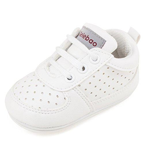 DELEBAO Babyschuhe Krabbelschuhe Turnschuhe Lauflernschuhe Weiche Sohle Baby Schuhe Lederschuhe Erste Kinderschuhe Kleinkind für Mädchen Jungen (Weiß,12-18 Monate)