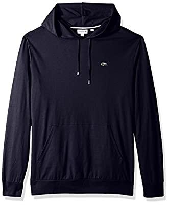Lacoste Men's Long Sleeve Hooded Jersey Cotton T-Shirt Hoodie, Navy Blue, XL by Lacoste