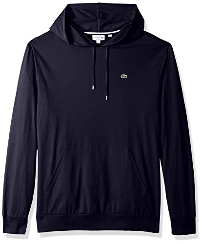 Lacoste Men's Long Sleeve Hooded Jersey Cotton T-Shirt Hoodie, Navy Blue, XL