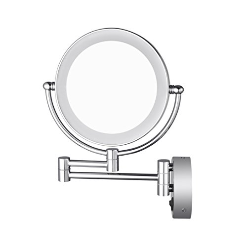 AECHOO Bathroom wall mirrors LED illuminated make-up mirrors 10X magnification Hidden installation Simply and luxurious Decor for Hotel Vanity Chrome finish