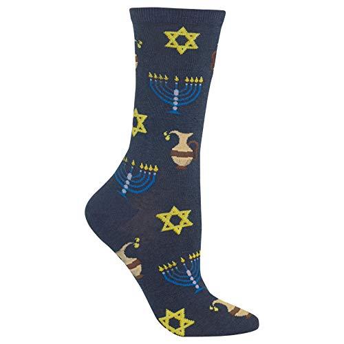 HotSox Womens Hanukkah Socks, Denim Heather, 1 Pair, Womens Shoe 4-10
