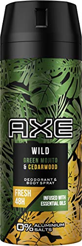 Axe Wild Déodorant en spray Green Mojito & Cedarwood sans aluminium avec protection efficace contre les odeurs corporelles 150 ml