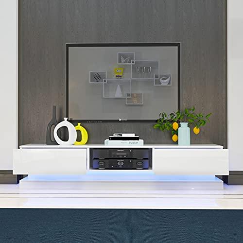 YOLEO TV-Lowboard 160cm, Fernsehschrank in Hochglanz, Fernsehtisch TV-Schrank mit LED-Beleuchtung, Stehendes TV-Regal Weiß