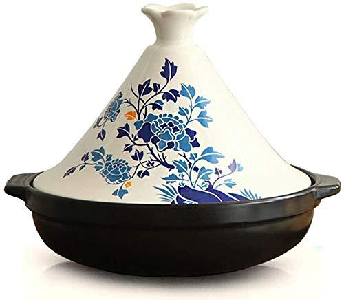 SJZLMB Ollas de cerámica Pan de cerámica de cerámica Gruesa con Base de Hierro Fundido y Tapa de Embudo de gres para Todos los Tipos de vitrocerámica de 6.3 Pulgadas Base (Color : Blue)