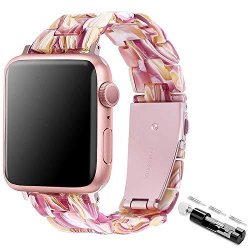 TopPerfekt Correa compatible con Apple Watch de 38/40 mm, ligera e impermeable correa de resina de repuesto con hebilla de acero inoxidable para iWatch Series 6, 5, 4, 3, 2 1 (rojo facebook, 38/40 mm)