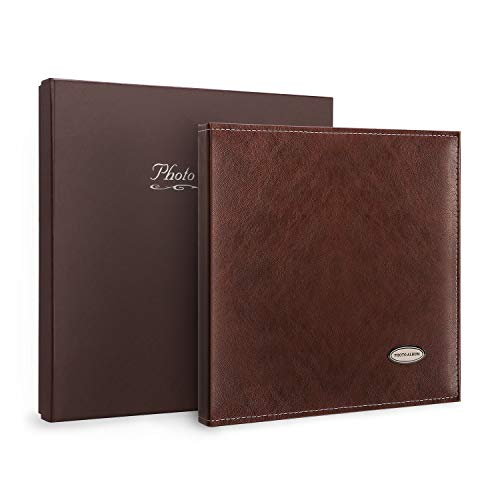 Magicfly Self-Adhesive Photo Album with Leather Cover, Self-Stick Leather Photos Album, 12. 5 X 10. 7 Inch, Hand Made DIY Albums for 3x5, 4x6, 5x7, 6x8, 8x10 Photos, (30 Sheet, 60 Pages) Brown