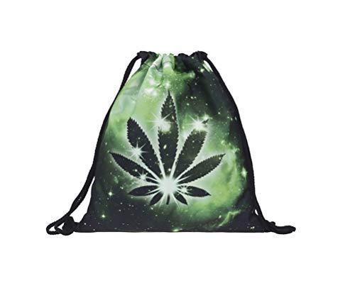Hanessa Jute zak - hennep plant groen-zwart nacht - met grappige spreuk opdruk sporttas grappige spreuken zak rugzak zak tas gym bag hipster mode sporttas boodschappentas RU-343