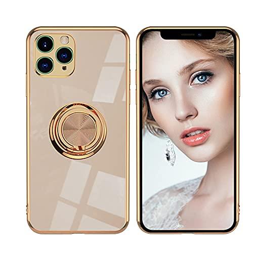 Funda para iPhone 12 Pro Max con soporte de metal de 360 grados, carcasa rígida de policarbonato y protección ultra fina, resistente a los golpes, para iPhone 12 Pro Max (dorada)