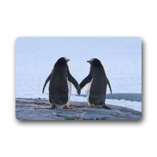 Felpudo Divertido pingüino par Amor Animal Amor Felpudo Alfombra para Interiores/Exteriores/Puerta Delantera/baño mats Felpudo (23,6x 15,7cm)