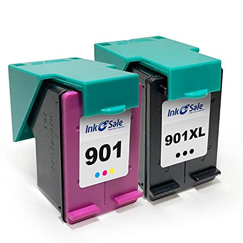Ink E-Sale Remanufacturado 901XL para Cartuchos HP 901 901XL Compatibles con OfficeJet 4500 G510a J4524 J4535 J4540 J4550 J4560 4580 J4585 J4600 J4624 J4640 J4660 J4680 J4680c G510n,1 Negro 1 Tricolor