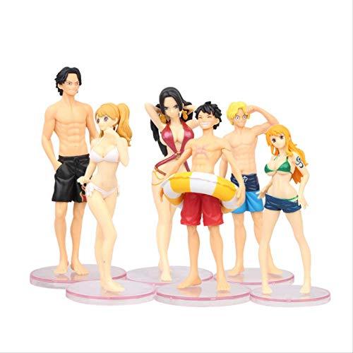 GYINK 6 Stück / Los Anime One Piece Ruffy Ace Nami Sanji Vivi Cartoon Modell Puppe Actionfigur 13Cm, PVC Toy Collection Geschenk