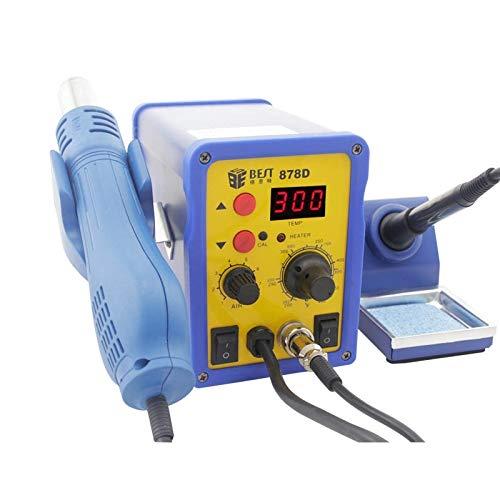 Hand Tools, Best BST-878D 2 in 1 AC 220V 700W LED Displayer Helical Wind Adjustable Temperature Unleaded Hot Air Gun + Solder Station & Soldering Iron, EU Plug (Color : S-etp-0247l)