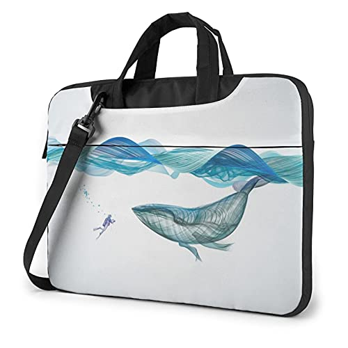 Laptop Sleeve Bag Underwater Whale Fish Illustration Art Tablet Briefcase Ultraportable Protective Canvas for 14 inch MacBook Pro/MacBook Air/Notebook Computer