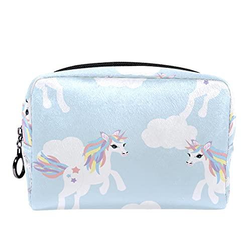 Monedero de embrague con diseño de unicornio azul con cremallera negra para mujeres y niñas multifuncional maquillaje cosmético bolsa bolsa bolsa bolsa bolsa bolsa