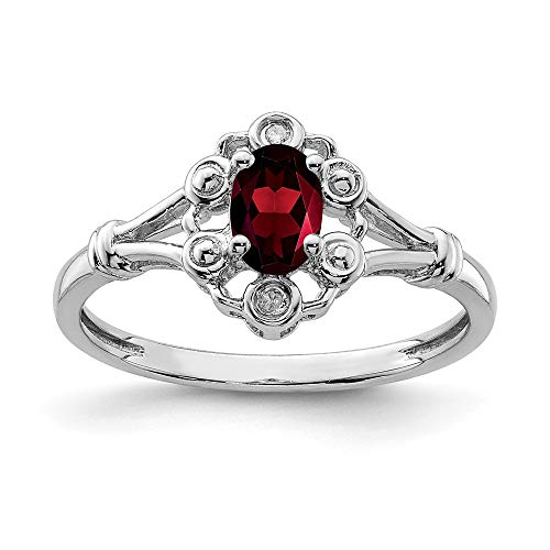 925 Sterling Silver Red Garnet Diamond Band Ring Size 10.00 Birthstone January Gemstone Fine Jewellery For Women Gifts For Her
