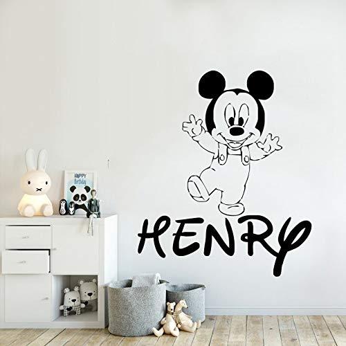 yaonuli Kleine Maus Muster Wandaufkleber personalisierter Name Hauptschlafzimmer Dekoration Wandbild Aufkleber 31X68cm