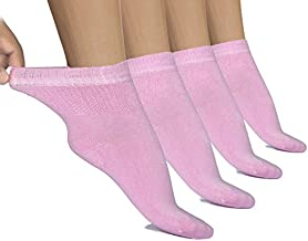 Hugh Ugoli Lightweight Women's Diabetic Ankle Socks Bamboo Thin Socks Seamless Toe and Non-Binding Top, 4 Pairs, Pink, Shoe size: 10-12