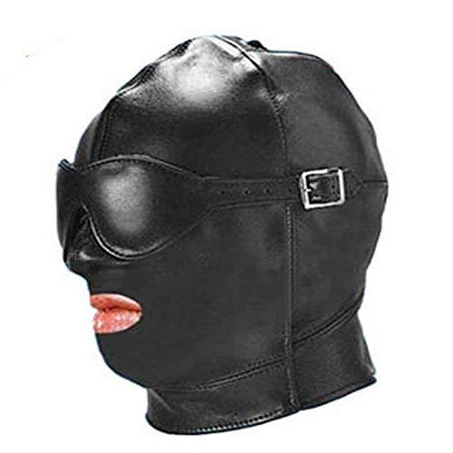 JUGF Bondage con los Ojos vendados Fugas Sombreros Parejas Aparato para coquetear Productos para Adultos Máscara para coquetear Cuero Juguetes Negro