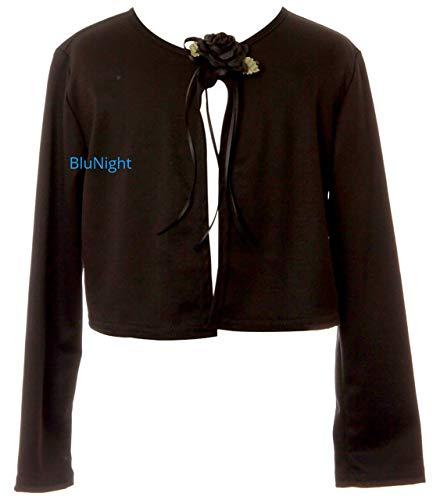BluNight Collection Big Girls Long Sleeve Flower Girl Cardigan Sweater Bolero (13KD3) Black 12