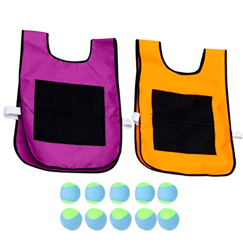 NUOBESTY 2 Pcs 16.9x11.8 Inches Dodgeball Sticky Vest with 10Pcs Random Soft Balls, Children Throwing Ball Game Props Group Plaything Catch Toss Game for Home School - Purple, Orange Vest