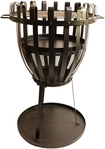 Feuerkorb Metall Ø48cm, 68cm hoch, Grill Feuerstelle Terasse Gartendeko FBodenplatte Kohleschale Grillrost Stabil Pulverbeschichtet Schwarz Eisen Funkenschutzgitter