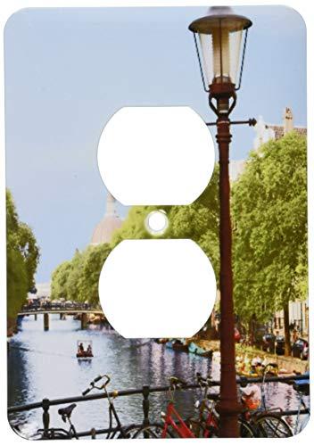 Einzelne Duplex-Steckdosen-Wandplatte, Steckdosen-Wandplatte, Kanalszene, Amsterdam, Holland, Niederlande, EU20 Mgl0076 Miva Stock 2 Steckdosen Abdeckung