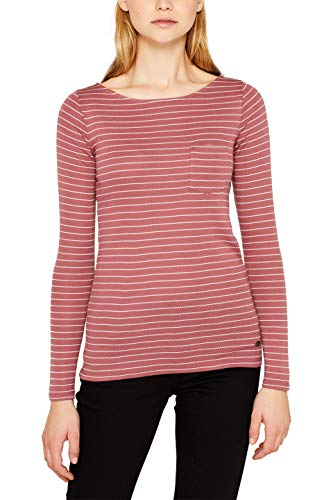 edc by ESPRIT Damen 119CC1K018 Langarmshirt, Rosa (Dark Old Pink 675), Small (Herstellergröße: S)
