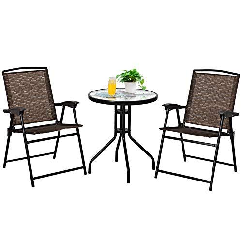 COSTWAY 3tlg. Bistroset Sitzgruppe mit 2 StühleBalkonset Gartenset Sitzgarnitur Gartengarnitur Gartenmöbel Bistrotisch Gartentisch