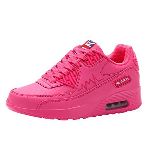 VJGOAL Turnschuhe Damen Weiss Wedges Sneaker Sport Laufschuhe Schaukelschuhe Dicker Boden Atmungsaktiv Schuhe Anziehen (Rot, 40)