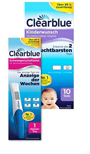 Clearblue Kinderwunsch Ovulationstest Digital 10 Stück und 1 Schwangerschaftsfrühtest mit Wochenbestimmung und eindeutigen digitalen Ergebnissen