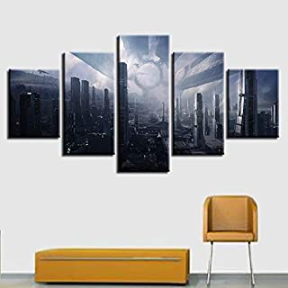 SHUII Framed Canvas Prints Paintings Wall Art 5 Pieces Mass Effect Citadel Pictures Home Decor Modular FantasyCityscapes Posters 20x35cm20x45cm20x55cm