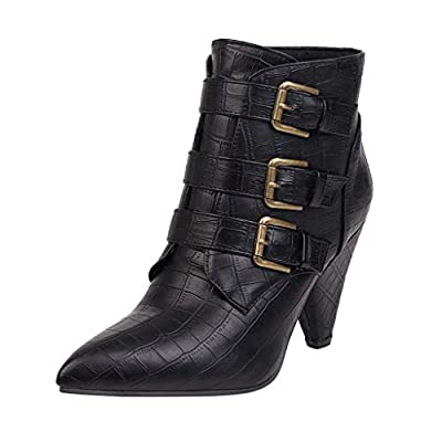 SEXYTOP Women Martin Ankle Boot Pointed Toe Solid Color Side Zipper/Lace Up High Cone Heels Faux Crocodile Leather Shoes
