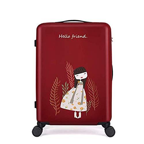 Koffer 24 Zoll Caster Box Weiblich Süß Student Koffer 20 Zoll Passwort Boarding Case (Farbe: Schwarz),Red,20