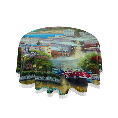 MNSRUU Lombard Street Nappe ronde pour table circulaire, pour buffet, fête, dîner de vacances, 152 cm