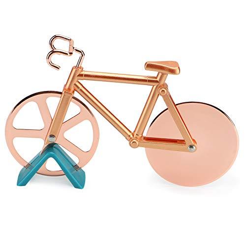 Cortador de pizza para bicicleta con hoja de rueda de acero inoxidable, estilo 2019, súper afilado y fácil, dorado