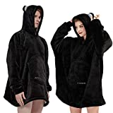 Black Hoodie Blanket Adult Animal Wearable Big Sweatshirt Oversized for Men Women