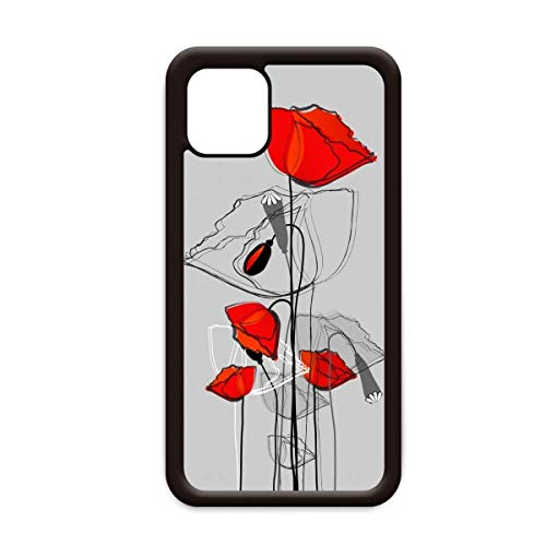 Rode Bloemen Abstract Art Line Schilderij Maïs Papaver voor Apple iPhone 11 Pro Max Cover Apple Mobiele Telefoon Case Shell, for iPhone11 Pro Max